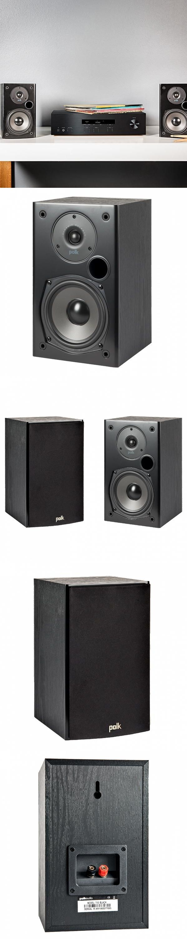 Polk T15 Bookshelf Speakers Black