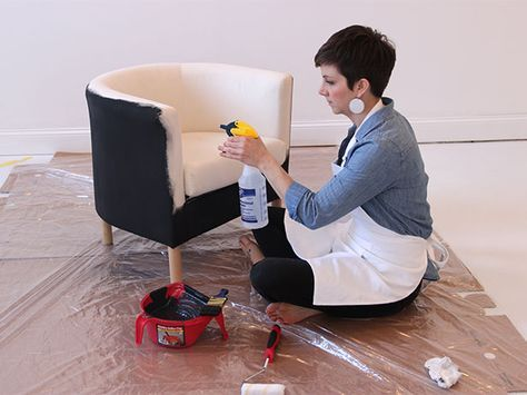 How to Paint a Fabric Chair is part of Painting fabric chairs - Breathing a new life into beat up and stained fabric chairs doesn't always require a trip to an upholsterer  A little paint, some fabric medium, and a graphic stencil can transform a dull and dated chair into something sleek and modern in an afternoon