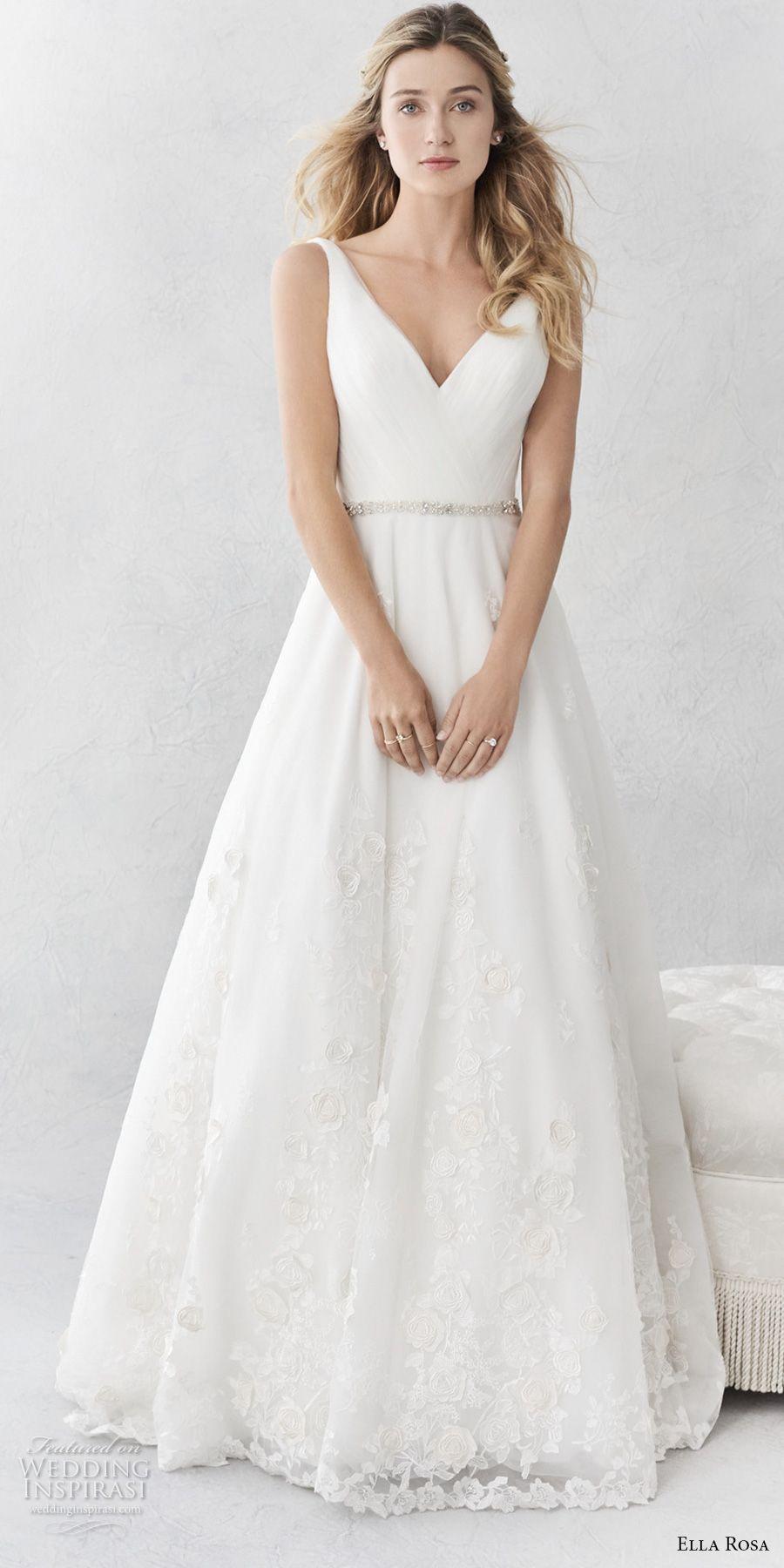 ella rosa spring  bridal sleeveless with strap v neck wrap over