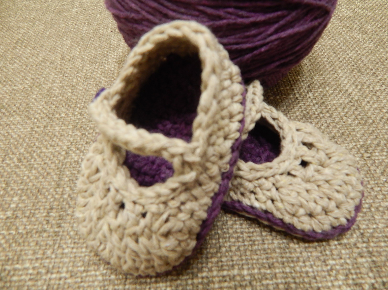 Zapatitos para bebe en hilo de algodon dos colores combinados ...