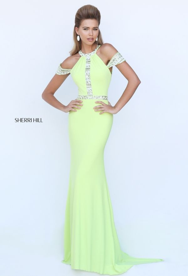 2016 Lime Sherri Hill 50341 Halter Neck Beaded Open Back Slim Prom Dress