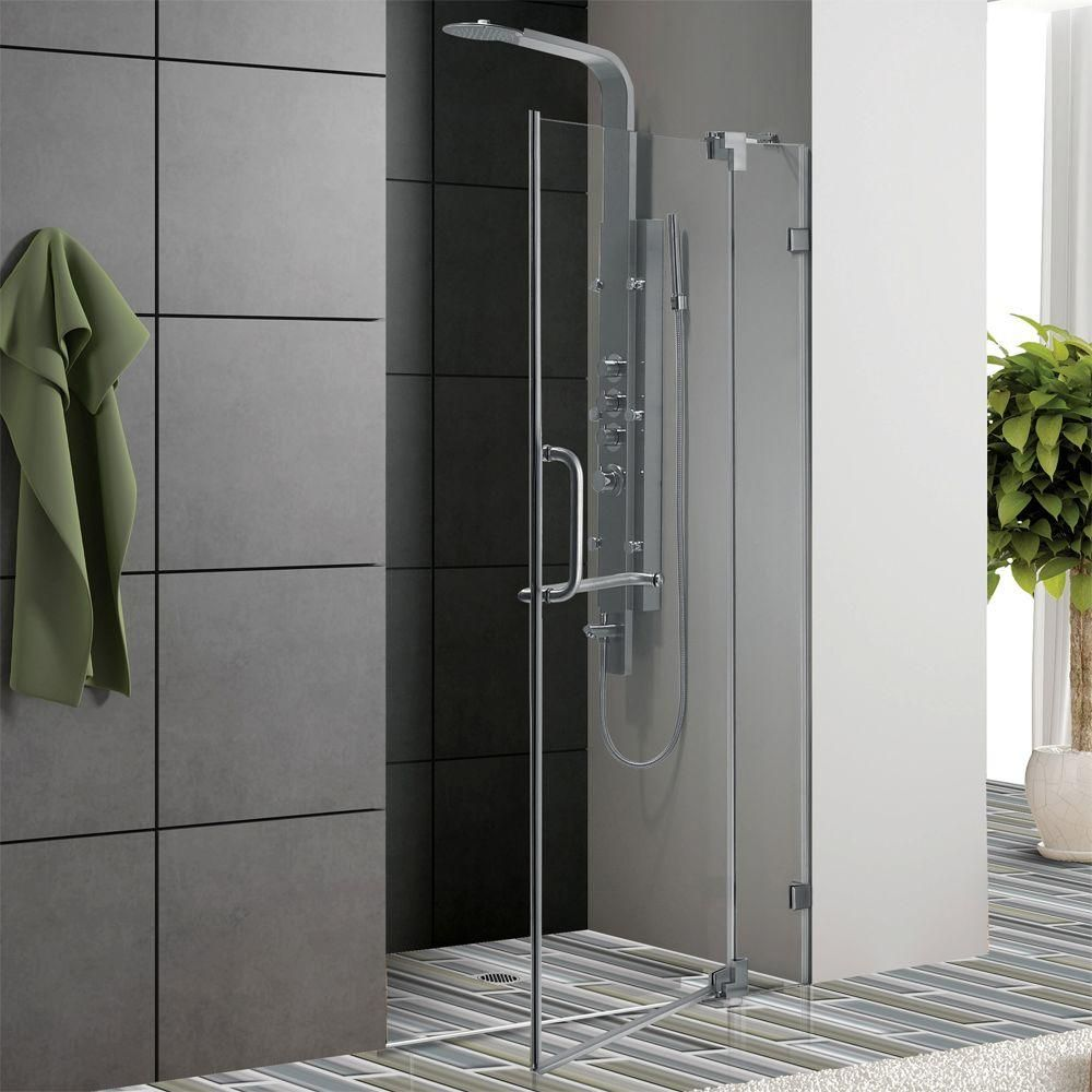 Vigo pirouette 36 in x 72 in frameless pivot shower door in chrome frameless pivot shower door in chrome with clear glass is constructed of solid brass or stainless steel for lasting usage it comes with chrome finish planetlyrics Image collections