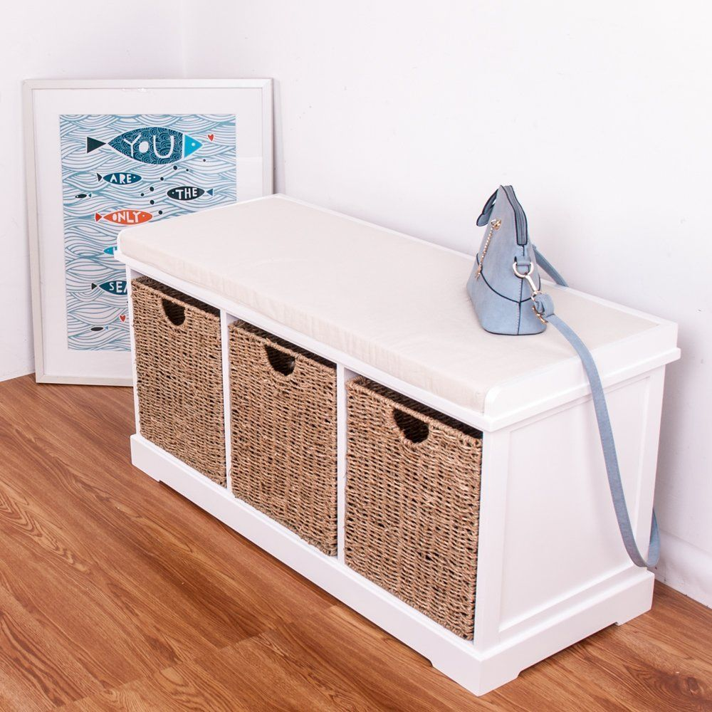 White Wooden Storage Bench Seater With 3 Sea Grass Basket Drawers Cabinet  Chest Of Drawer: