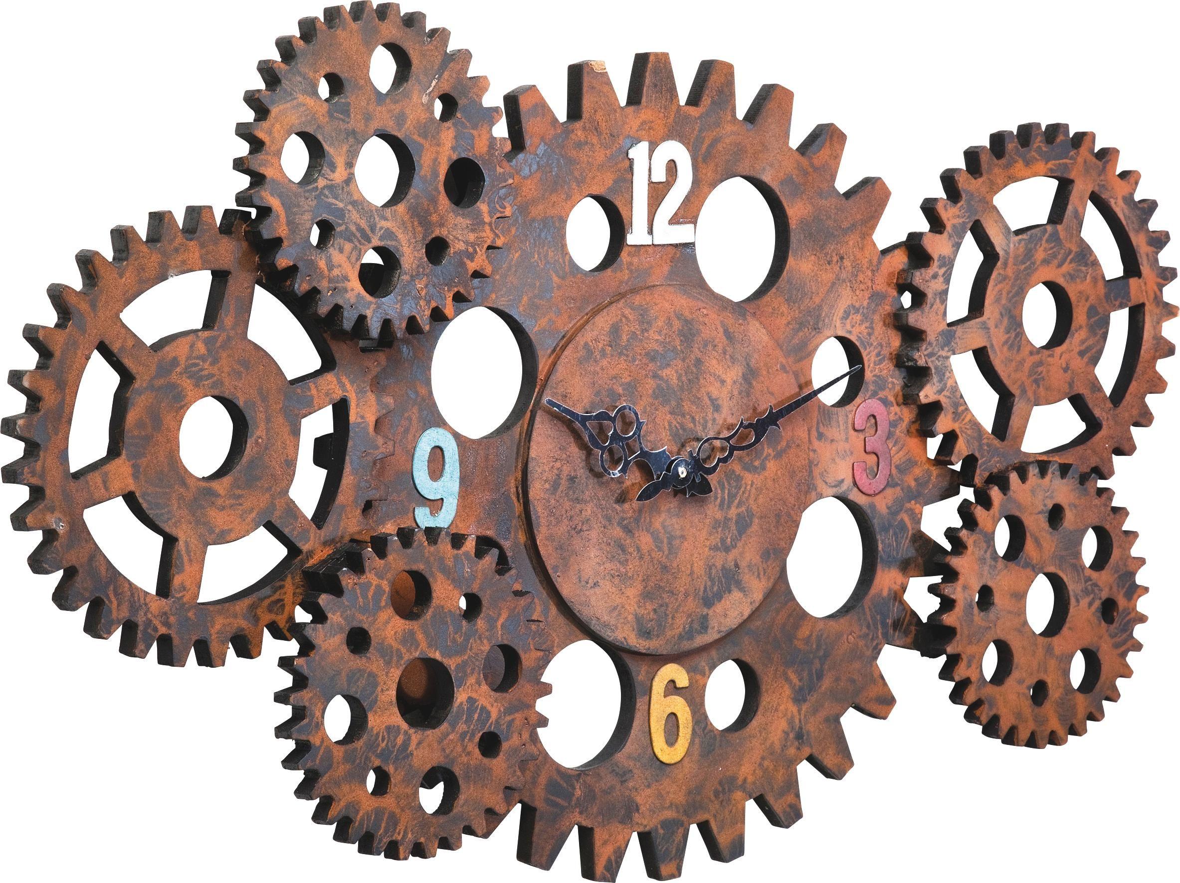 hier ist eine ausgefallene wanduhr das modell gear wheel ist aus einer lackierten faserplatte. Black Bedroom Furniture Sets. Home Design Ideas