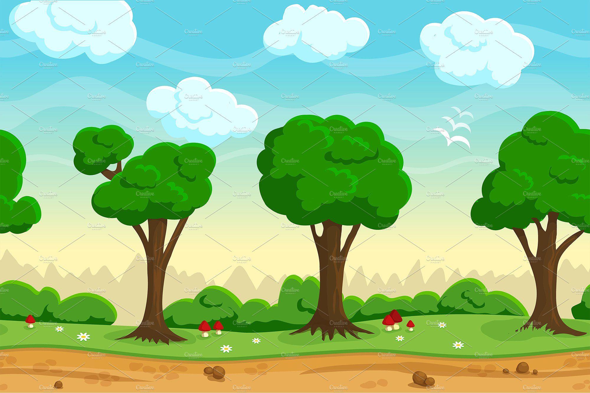 Seamless Cartoon Game Landscape Cartoon Games Nature Backgrounds Illustration Cartoon landscape with evergreen pine growing behind rocks, blue sky background. seamless cartoon game landscape