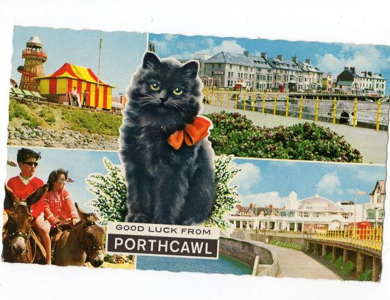 Greetings From Porthcawl Wales With Black By Sharonfostervintage 2 50 Antique Postcard Postcard Porthcawl