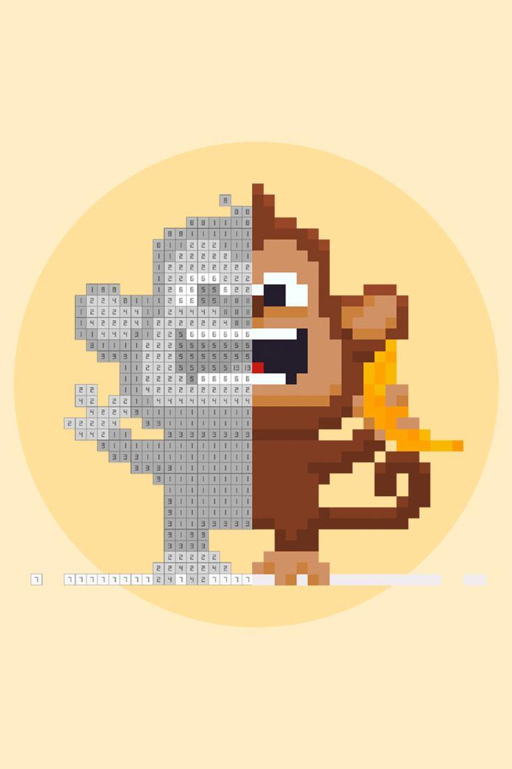 Crazy Pixel Chimp with Banana. Pixelgram: Pixel Art Game ...