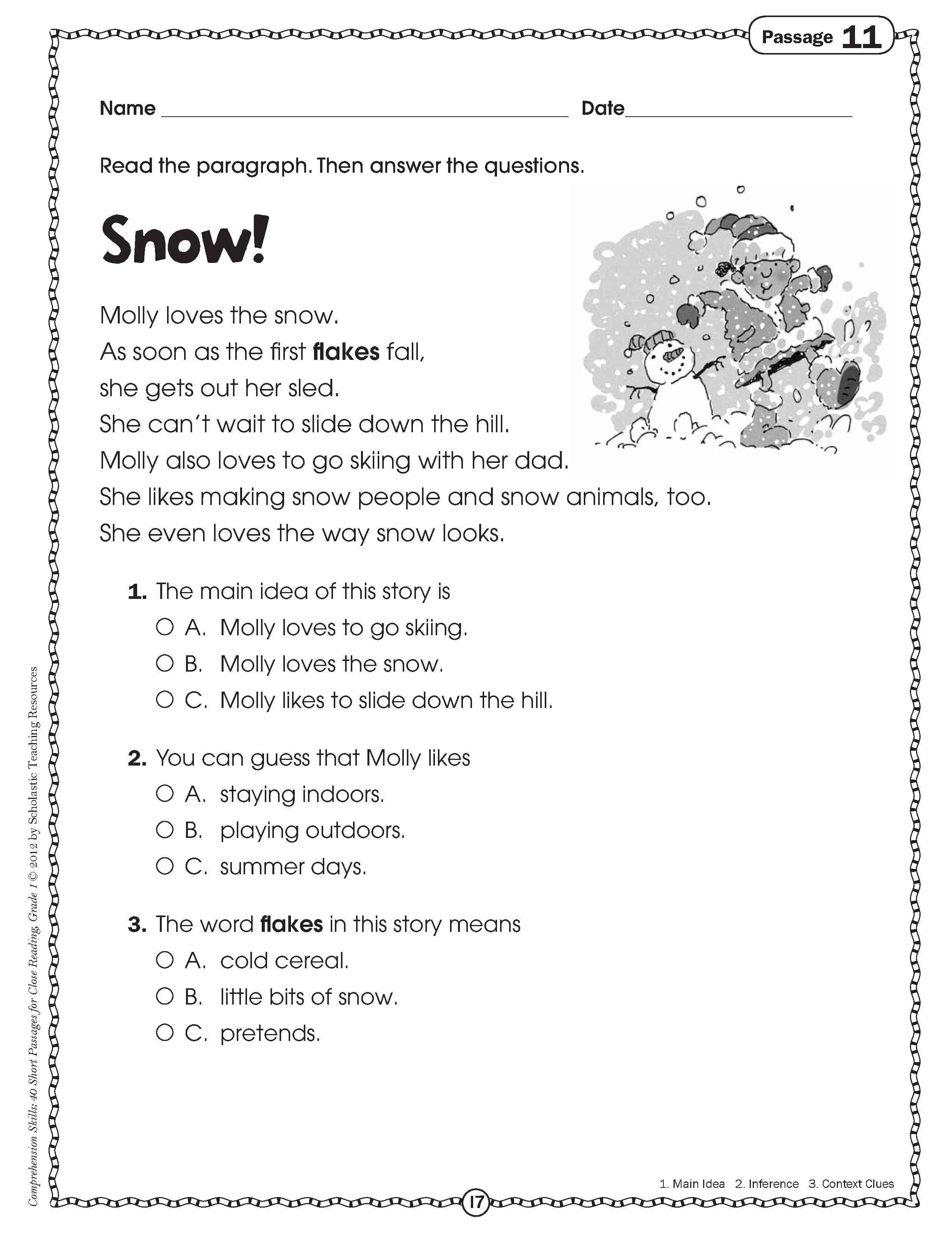small resolution of close reading for grade one   Comprehension worksheets