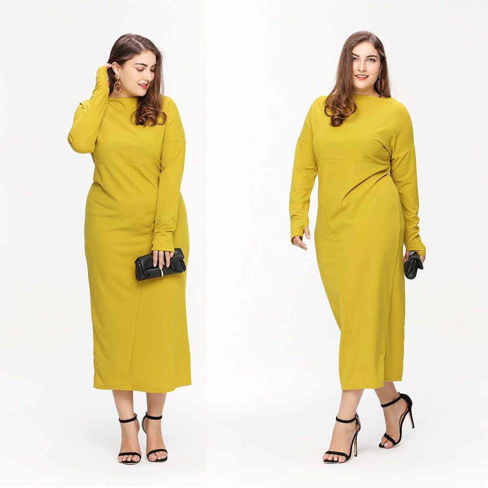 Plus size womens long sleeve party cocktail ball gown dress casual