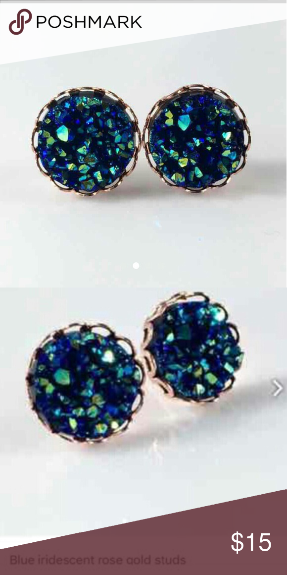 2d267952116 Blue Iridescent Rose Gold Studs 12mm Faux Druzy bead on rose gold