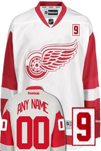3ce2a46090f Detroit Red Wings NHL Away Reebok Premier Jersey (with Gordie Howe Patch)