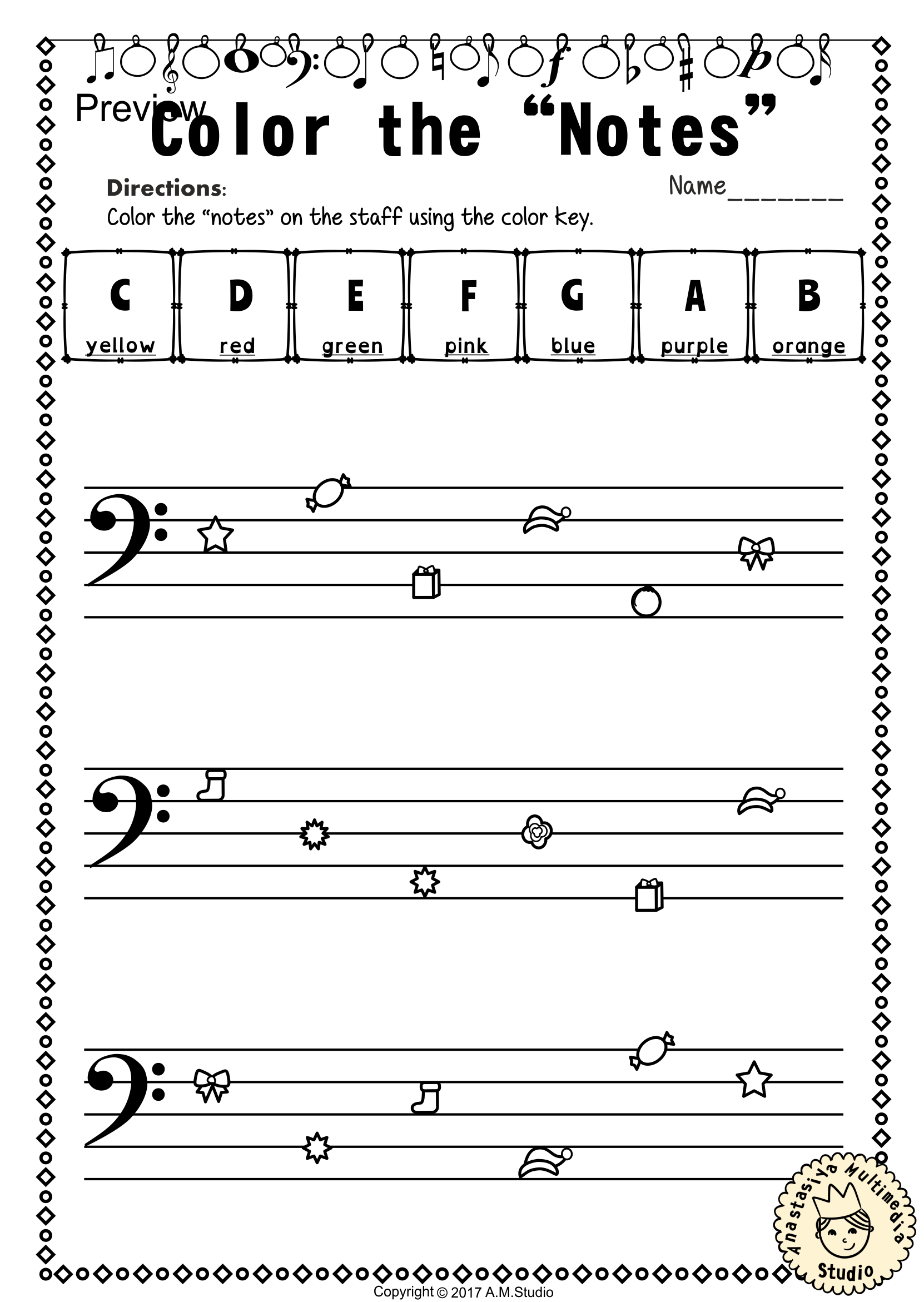 Christmas Bass Clef Note Reading Worksheets With Images
