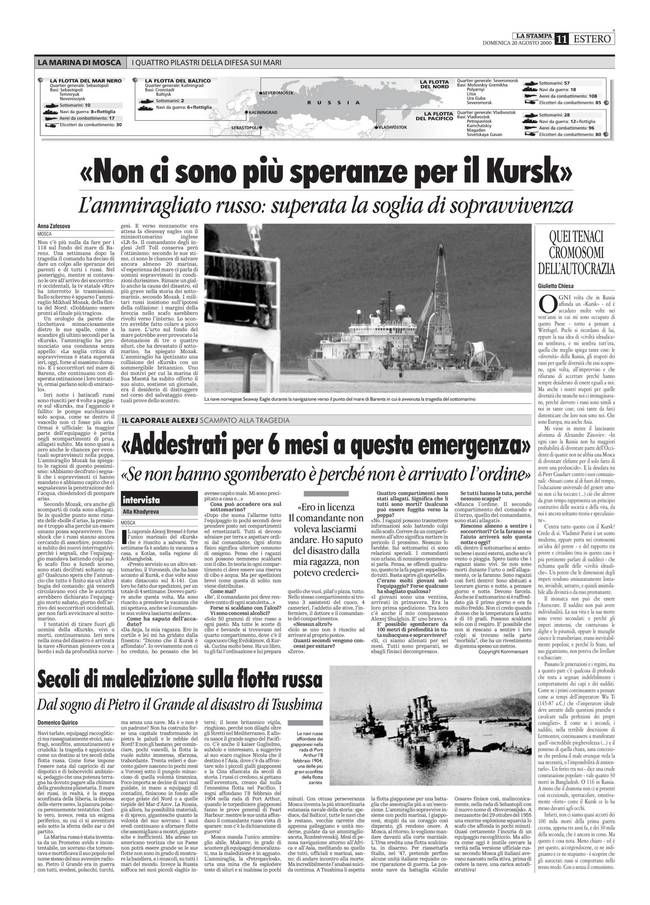 Agosto 2000 - Tragedia del Kursk