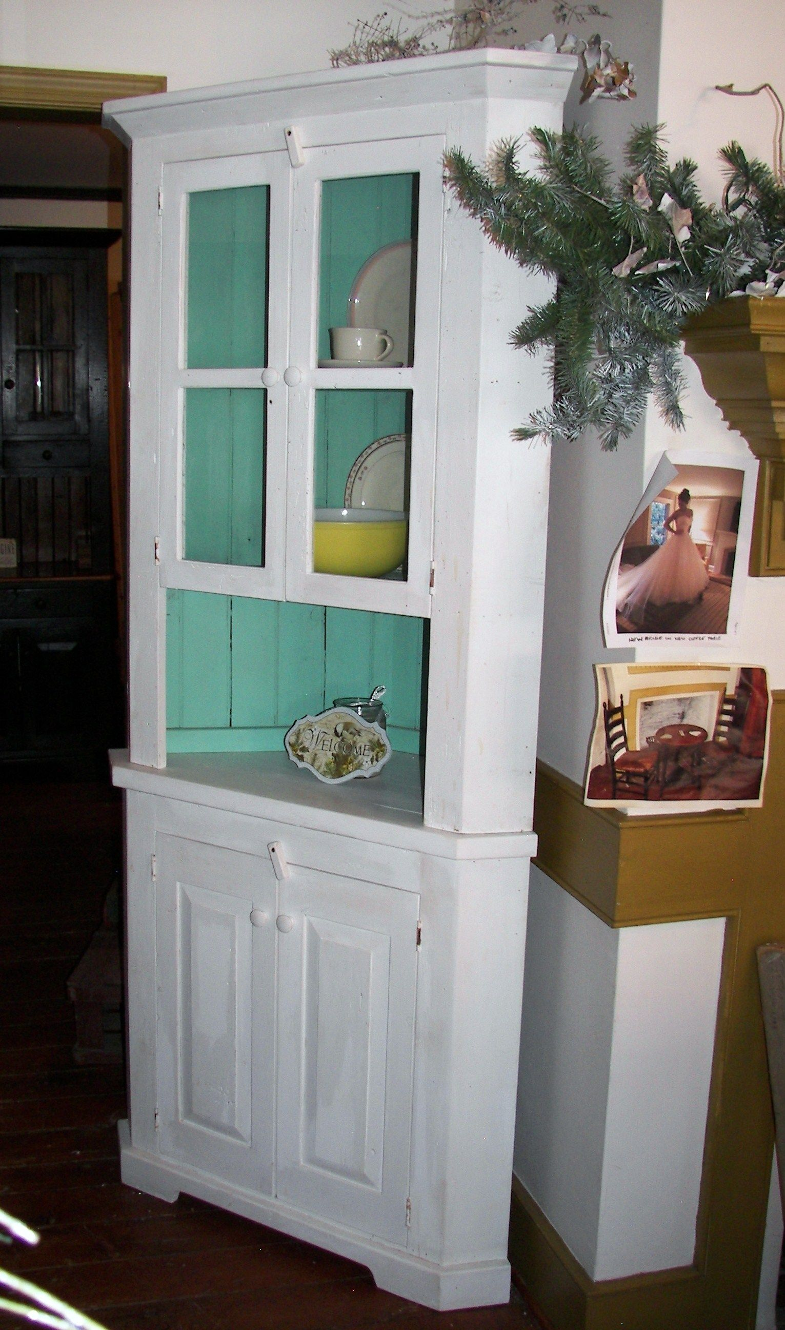 A Burst Of Color Brightens This Reclaimed Barn Wood Corner Cabinet We Use From