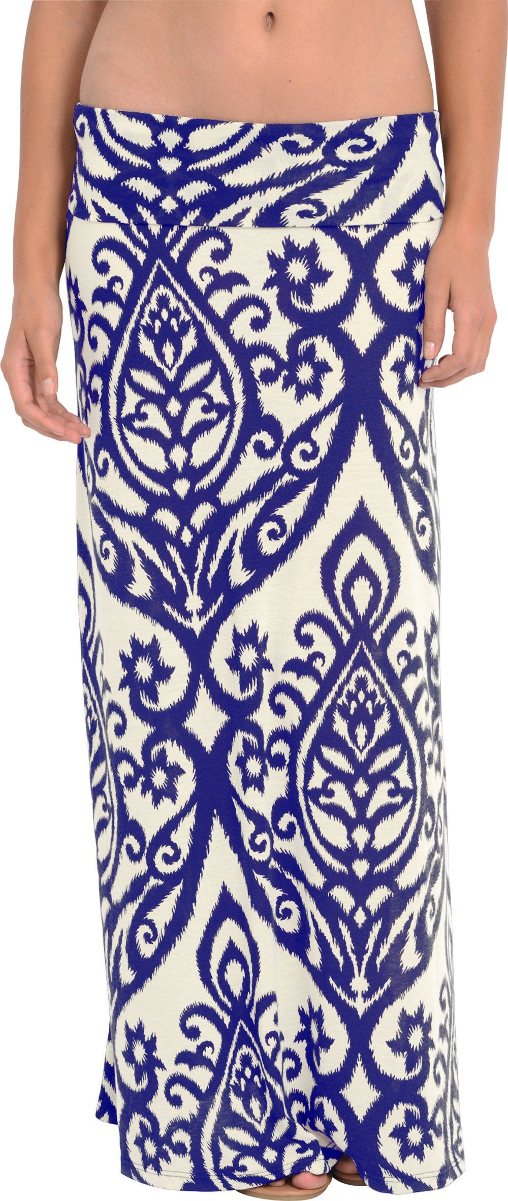 Candelabra Print Maxi Skirt, S, Ivory-Royal