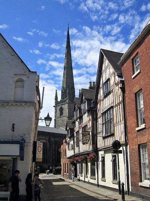 ,St. Alkmund's Church spire, which has stood for over 1,000 years and Prince Rupert Hotel, Shrewsbury, England
