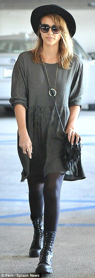 Gray dress with black stockings fashion