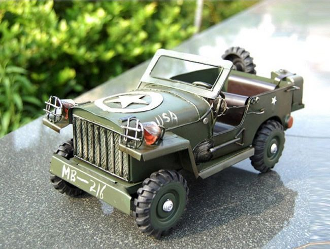 Handmade Antique Model Kit Car World War Two Willys Jeep Cabrio