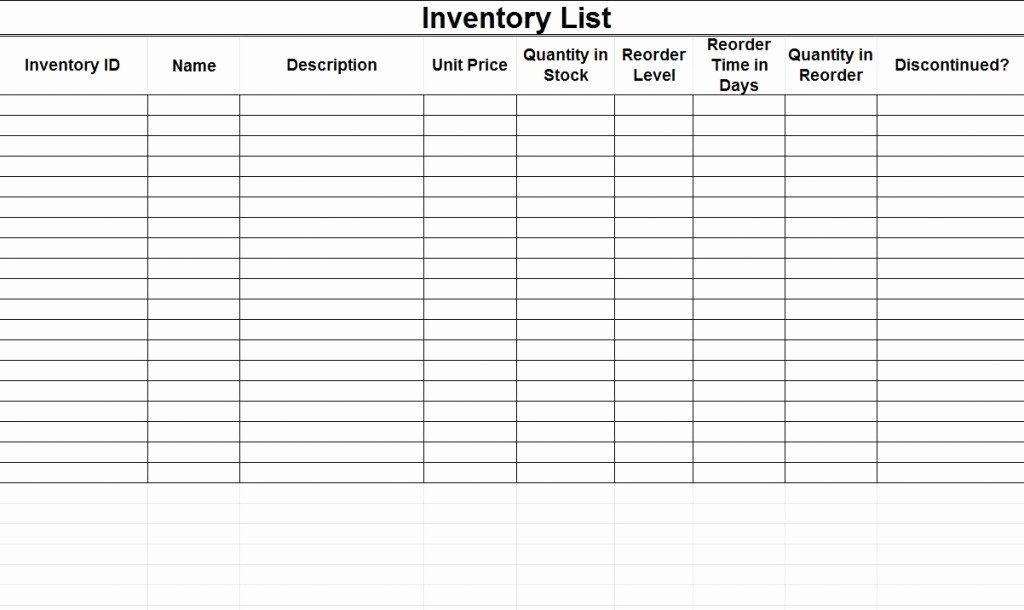 Printable Inventory List Template Luxury Free Inventory Template Spreadsheet Template Excel Spreadsheets Templates Spreadsheet