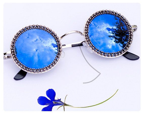 Blue Mirrored Hippie Sunglasses. Round Lenses. by 6maniacLemurs