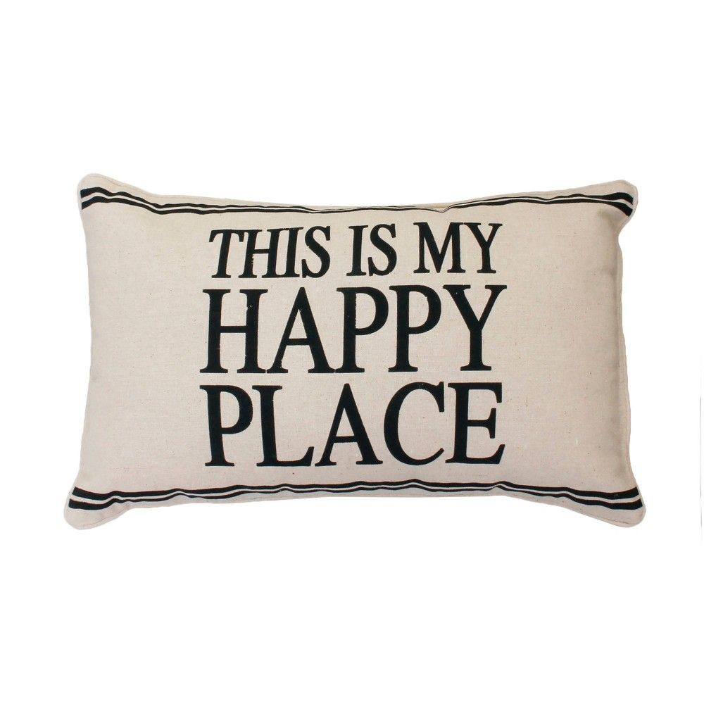 Tricia This Is My Happy Place Lumbar Throw Pillow Beige Décor Therapy Lumbar Throw Pillow My Happy Place Throw Pillows