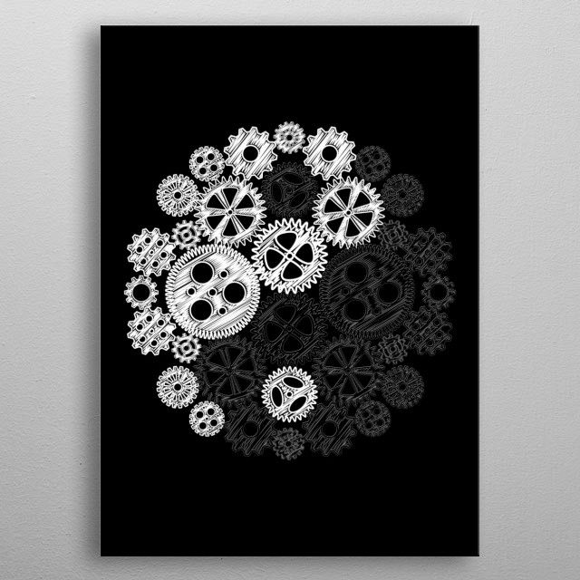 Gears Yin Yang by John Lucke Designs | metal posters - Displate | Displate thumbnail