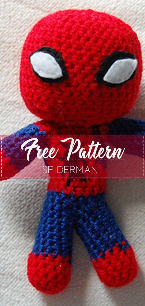 Ravelry: Spiderman - mini doll crochet pattern pattern by Jenny Riley | 997x474