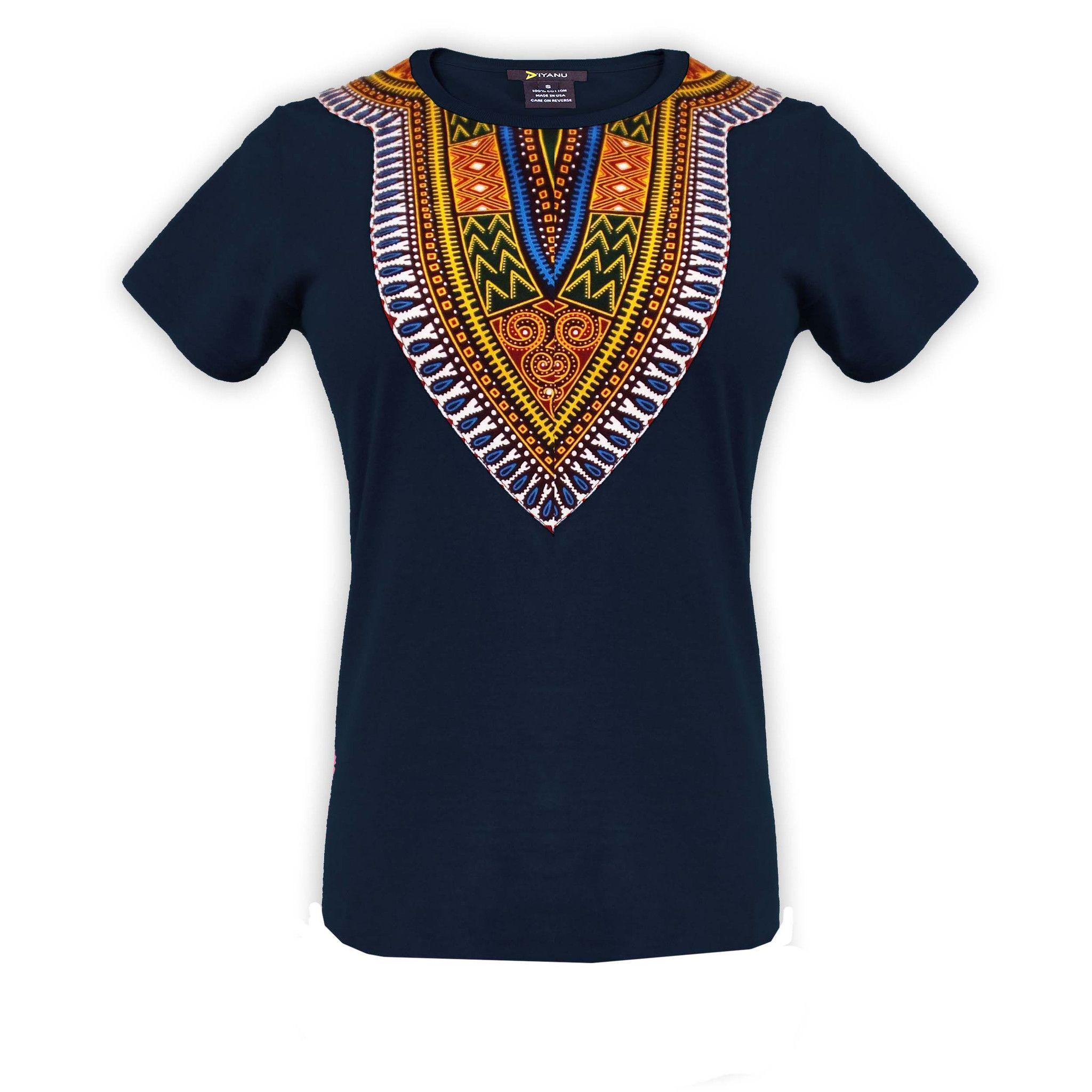 Amara Women's Dashiki T-Shirt (Navy)