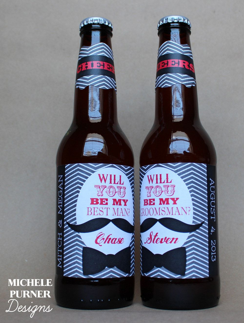 Will You Be My Groomsman And Best Man Beer Bottle Labels