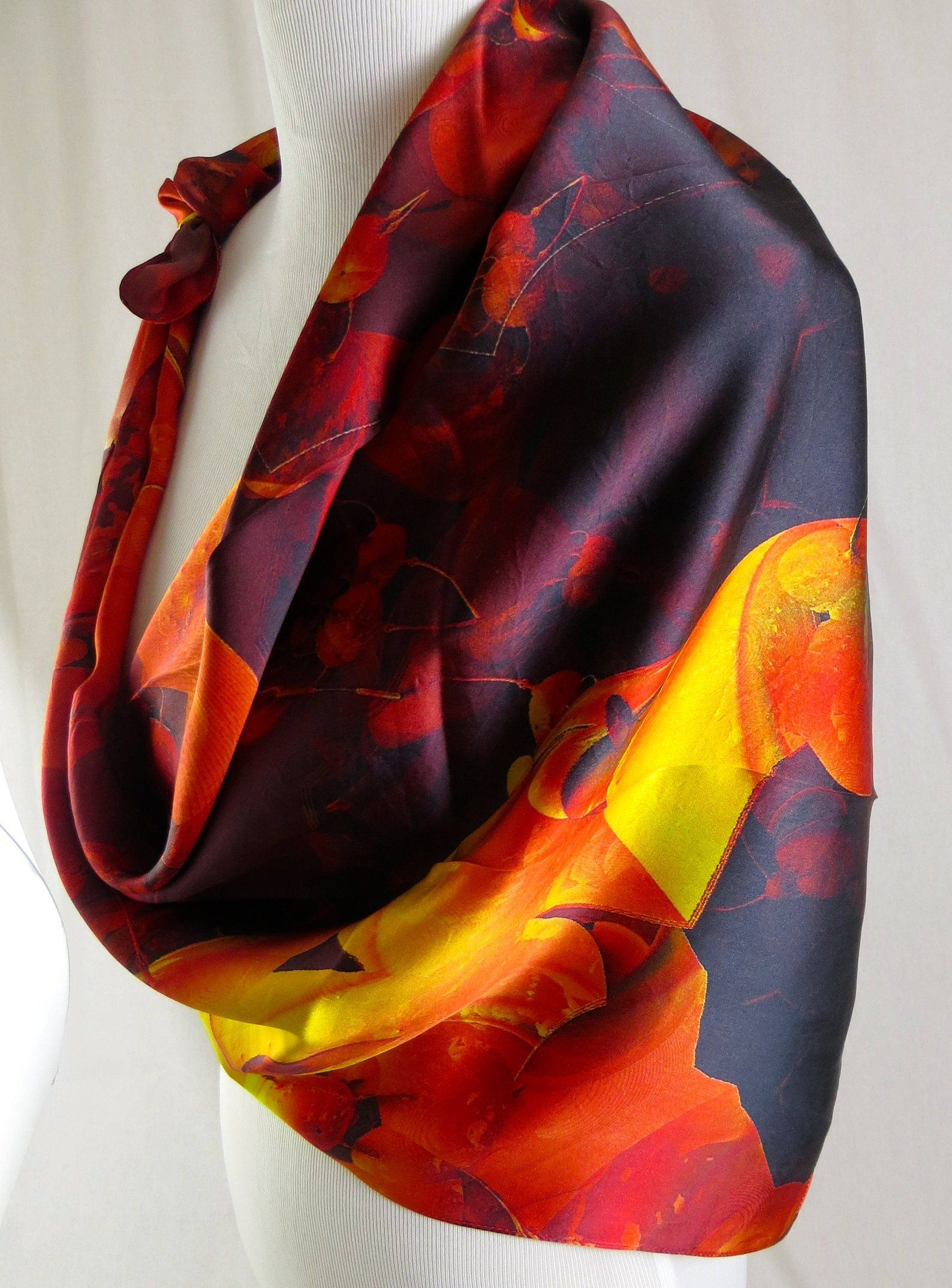 bfc9712fe Red Silk Scarf, Fire of the Heart 3D Fractal design, Psychedelic ...