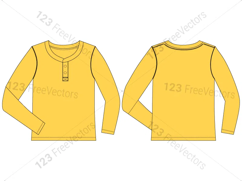 Download Men S Long Sleeve T Shirt Template Vector And Psd Pack 01 Shirt Template Sleeves Blank T Shirts