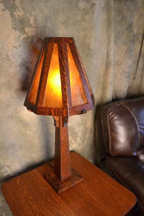 Oakparkcraftsmanlamp arts crafts master bedroombath ragsdale mission oak mica and stained glass table lamps aloadofball Image collections
