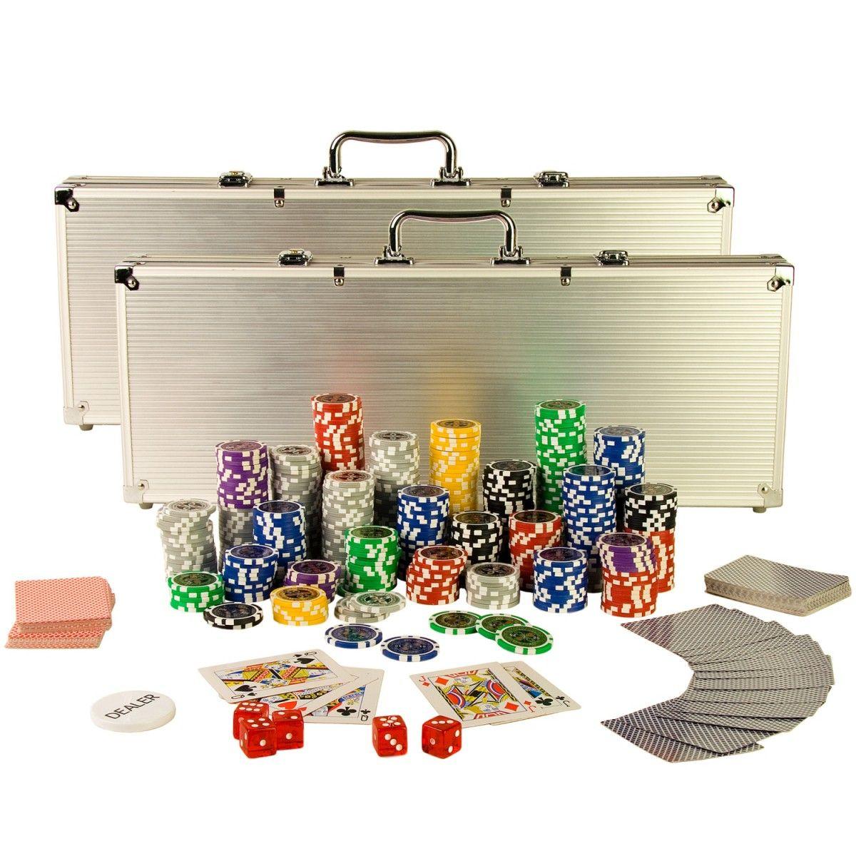 2019 的 Poker Set mit 1000 LaserChips, Pokerkoffer