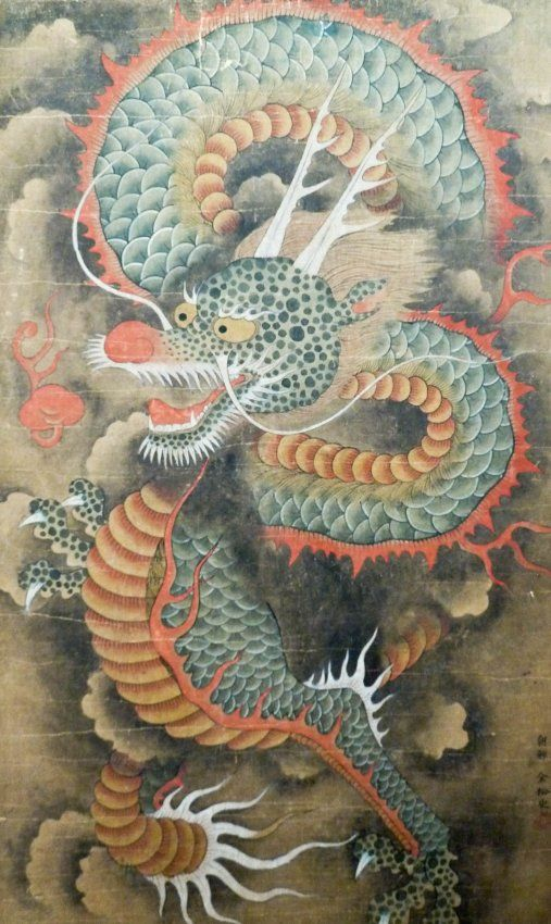 Korean Dragons Mythology: Antique Korean Dragon Scroll Painting Framed : Lot 204