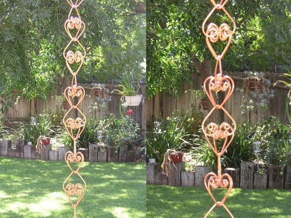 Solid Copper Heart Rain Chain Handcrafted by TwistsOnWire on Etsy