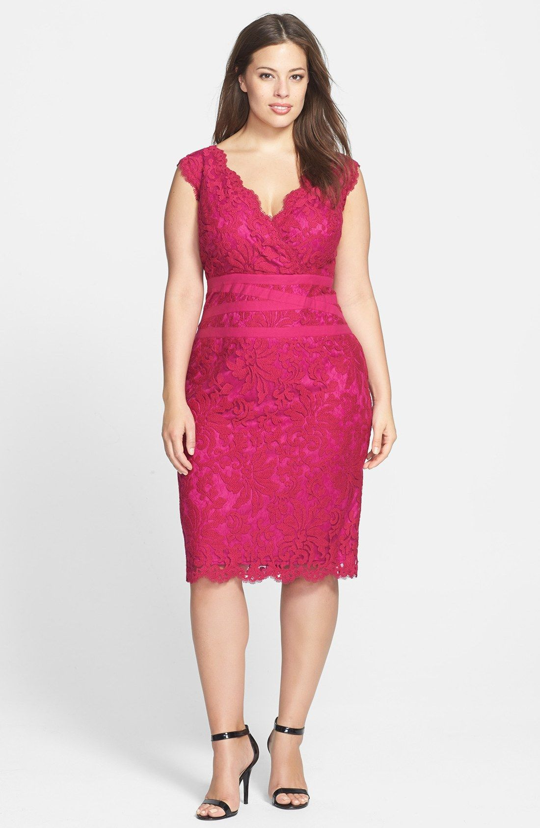 Tadashi Shoji Embroidered Lace Sheath Dress (Plus Size) in Pink ...