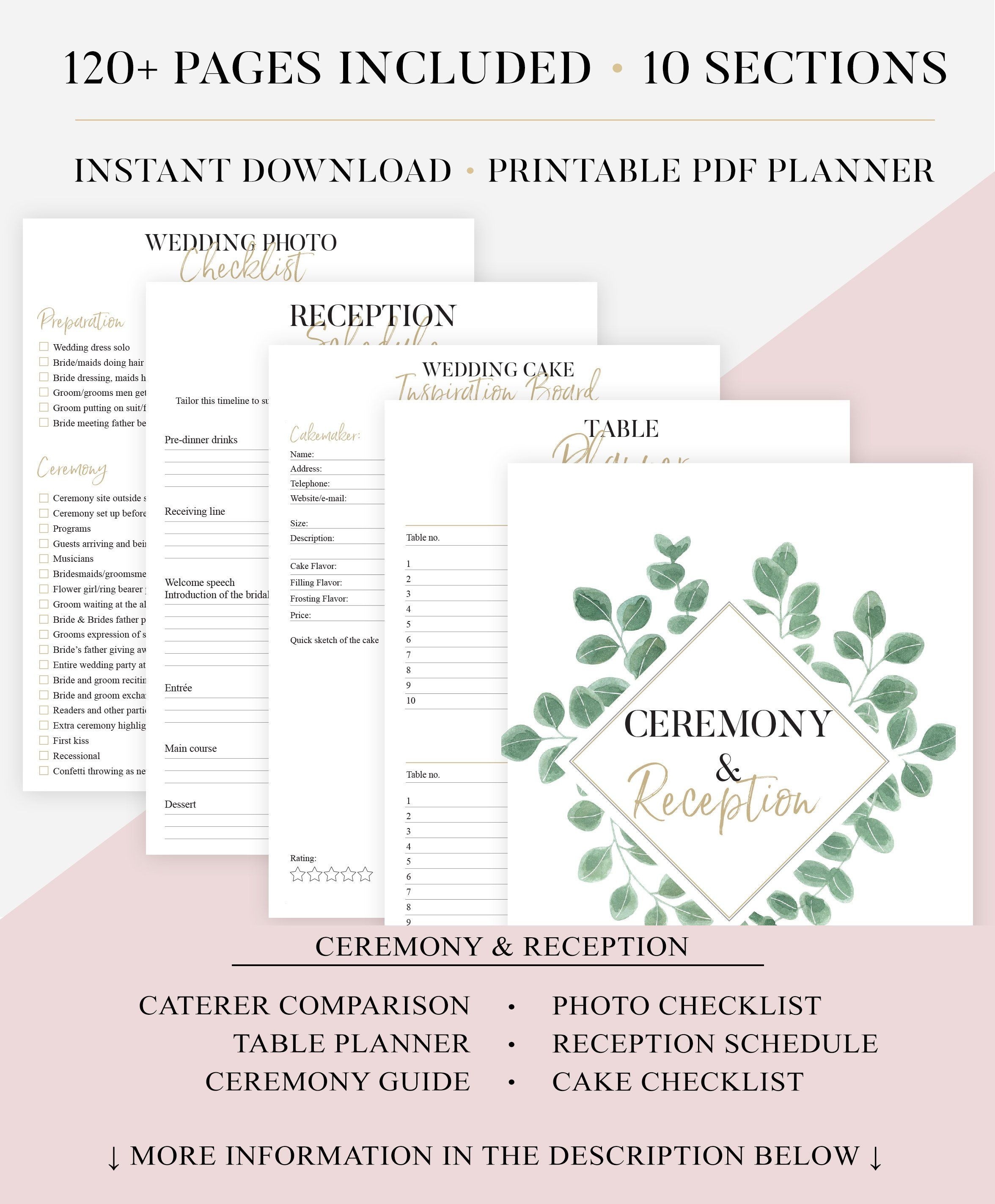 Printable Wedding Planner | Greenery Wedding Organizer | DIY