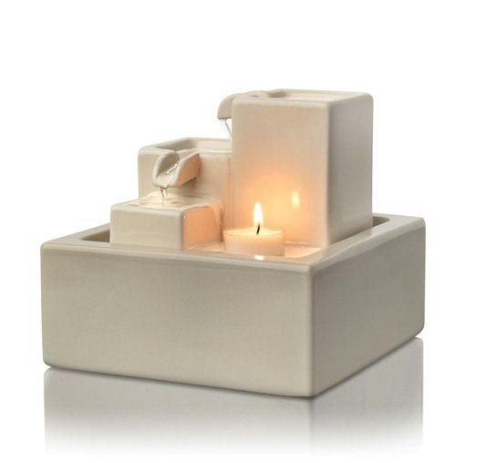 Simplicity Illuminated Ceramic Tabletop Fountain