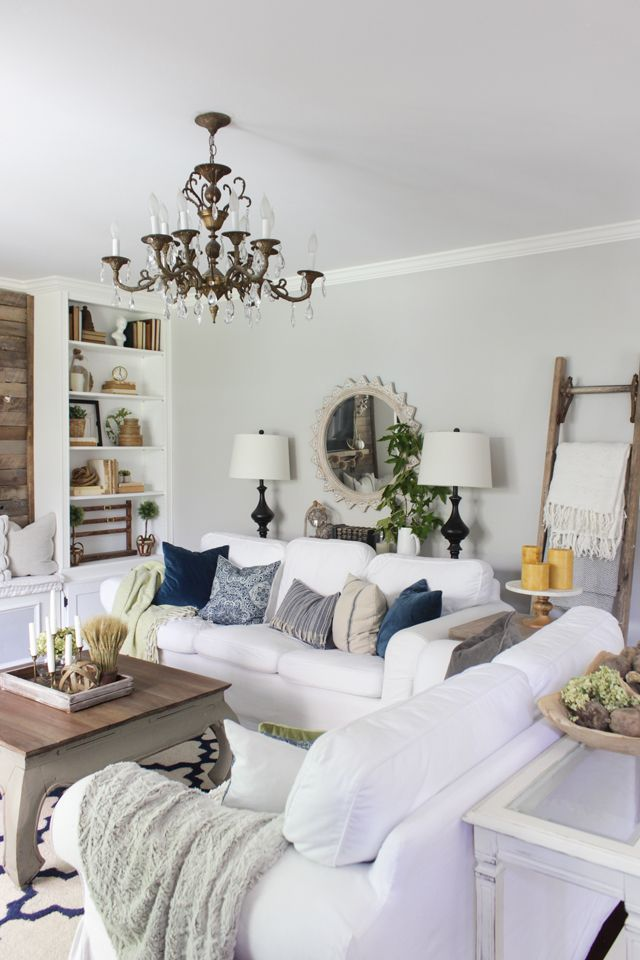 Farmhouse Living Room Decorated For Fall With Navy Green Gray And A Pop