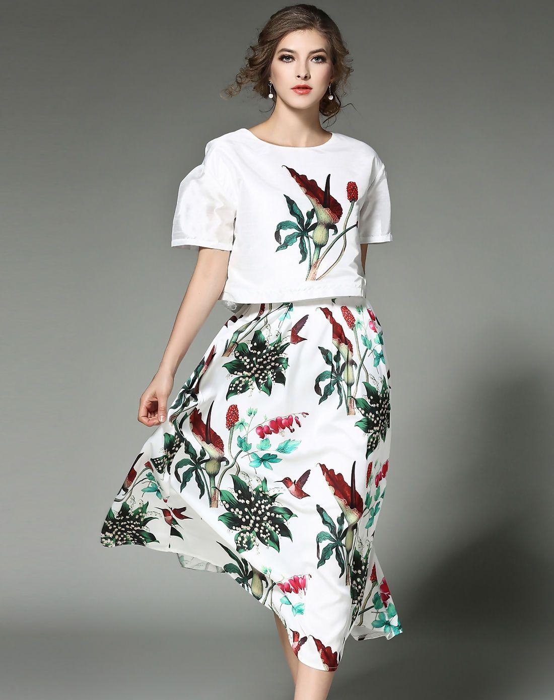 Adorewe vipme aline dresses tangjie floral two piece crop t