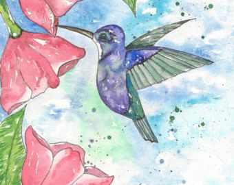 Hummingbird and Flowers Original Watercolor Painting, 8x10,
