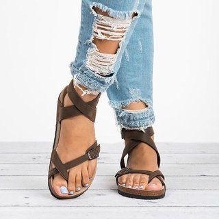 Plus Size Ankle Strap Buckle Flip Flop Gladiator Thong Flat Sandals