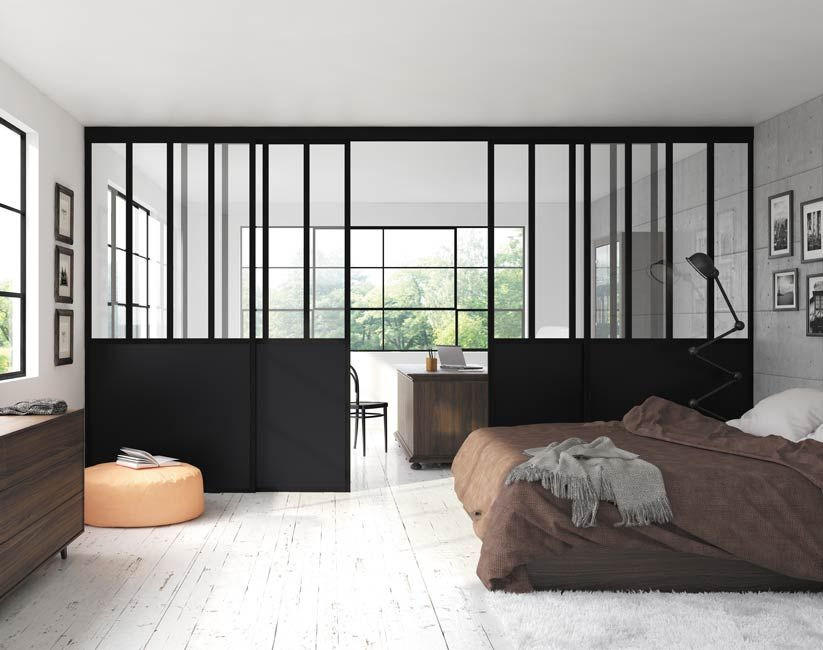 Séparation de pièce chambre bureau verrière noir vitre feuilletée