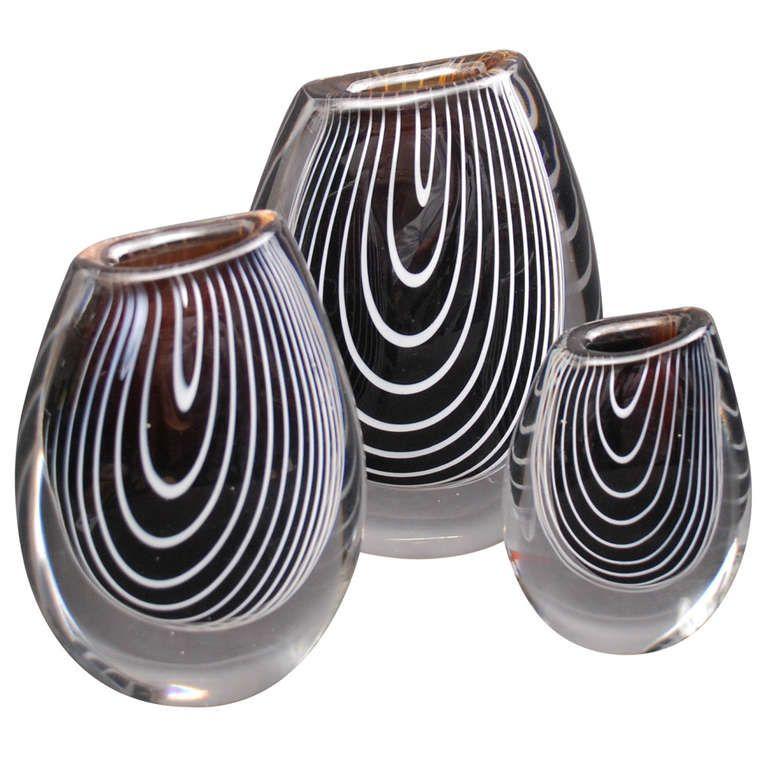 A Set Of Three Zebra Vases By Vicke Lindstrand For Kosta Glass