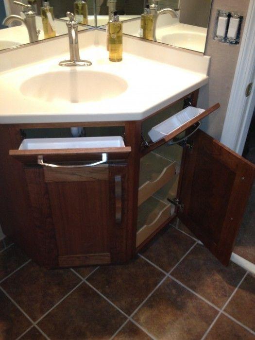 Would A Corner Sink Help That Awkward Push Back Corner Bathroom Vanity Bathroom Vanity Units Bathroom Sink Diy