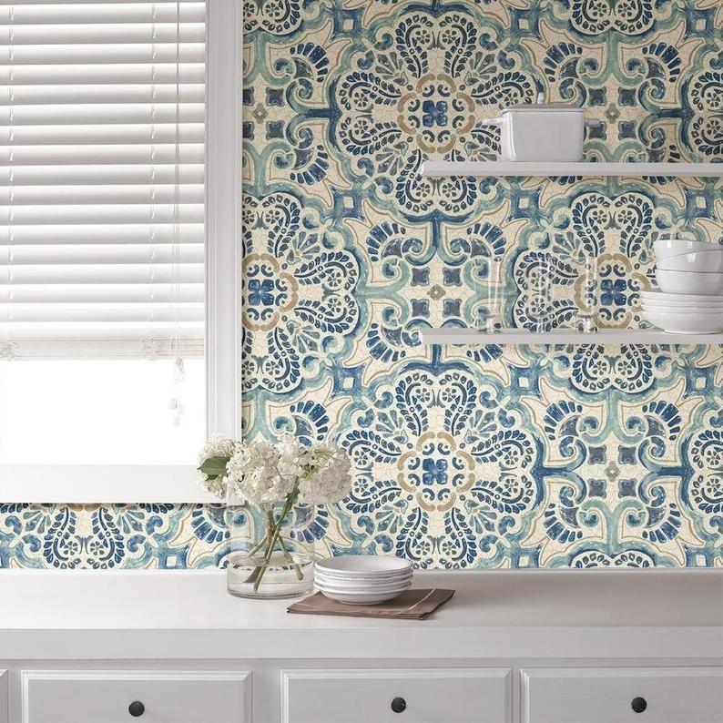 Peel And Stick Vintage Chic Blue Florentine Medallion Tile Etsy In 2020 Nuwallpaper Kitchen Wallpaper Peel And Stick Wallpaper