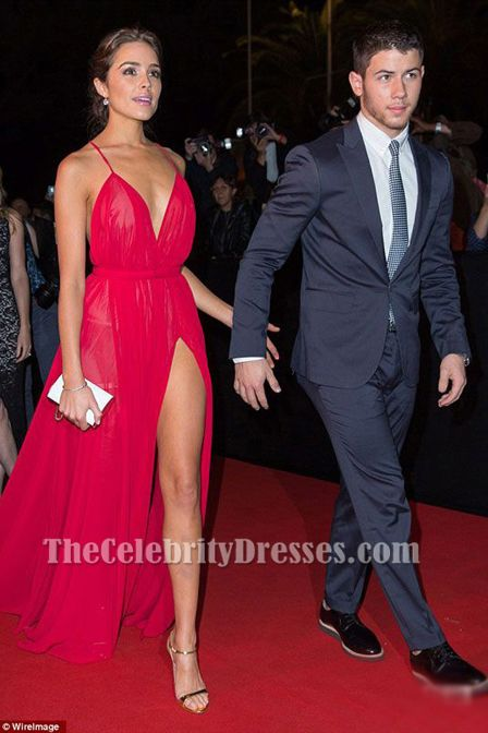 Olivia Culpo Fuchsia Spaghetti Strap Leg Split Backless Evening Dresses Red Carpet Dresses Backless Evening Dress Celebrity Dresses