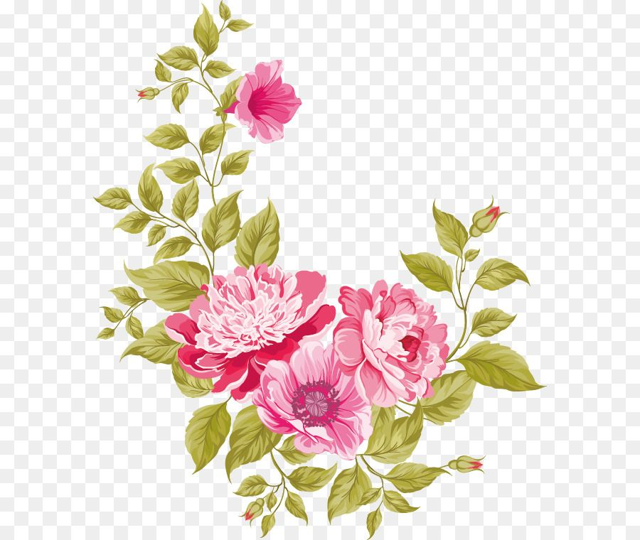 Wedding Invitation Pink Flowers Greeting Card Flowers Vector
