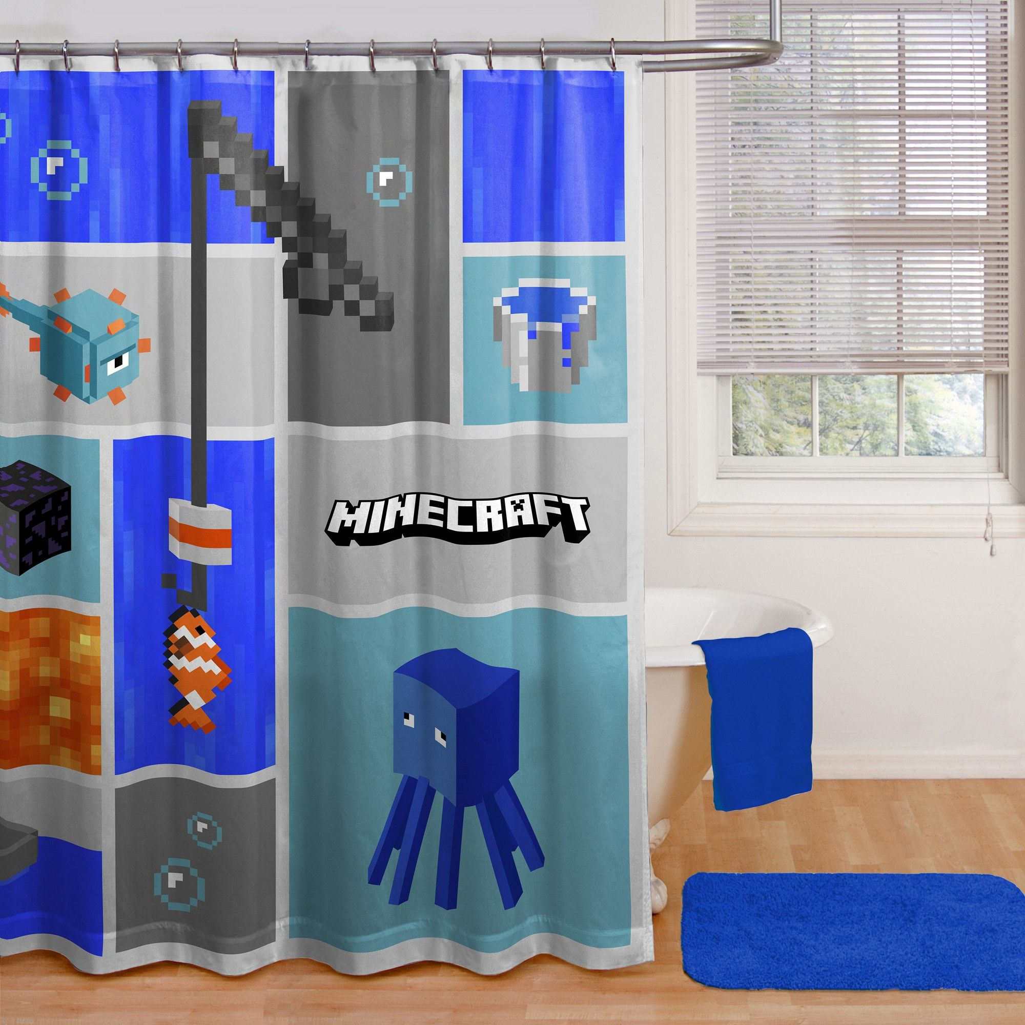 Minecraft Shower Curtain Blue Fabric Shower Curtains Curtains Bathroom Collections
