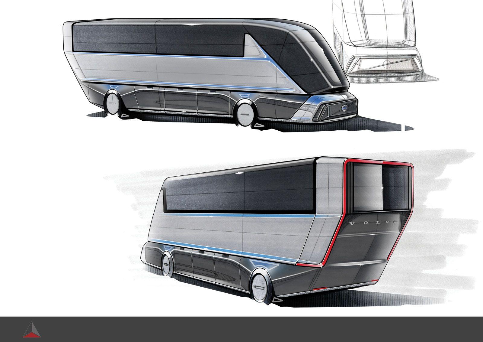 Volvo Bus Concept Design Sketches by Alireza Saeedi, former student at Car Design Academy #CarDesign #designer #design #designsketch #designsketching #AutoDesign #CarDrawing #CarDesignSketch #Bus #ConceptCar #Futuristic #CarBodyDesign